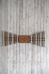 アンティーク ウッド×タイル 手巻き壁掛け時計