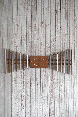 画像1: アンティーク ウッド×タイル 手巻き壁掛け時計
