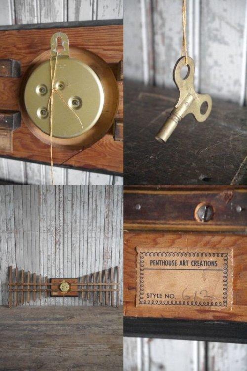 他の写真3: アンティーク ウッド×タイル 手巻き壁掛け時計