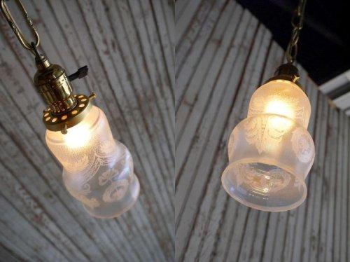 他の写真1: アンティーク 小型 カスリガラス吊り下げランプ 184