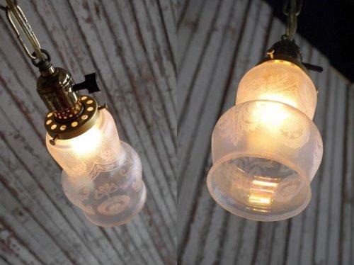 他の写真1: アンティーク 小型 カスリガラス吊り下げランプ 185