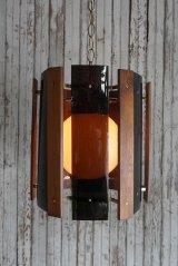 アンティーク アクリル×ウッドシェード 吊り下げランプ