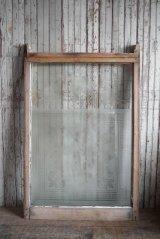 アンティーク 1800年代後期 SMOKE ROOM ミルクペイント ガラス×ウッド 窓枠 *