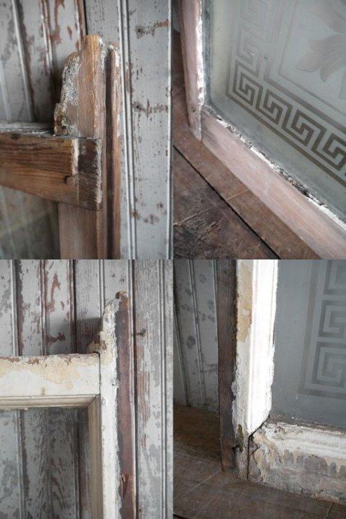 他の写真3: アンティーク 1800年代後期 SMOKE ROOM ミルクペイント ガラス×ウッド 窓枠 *