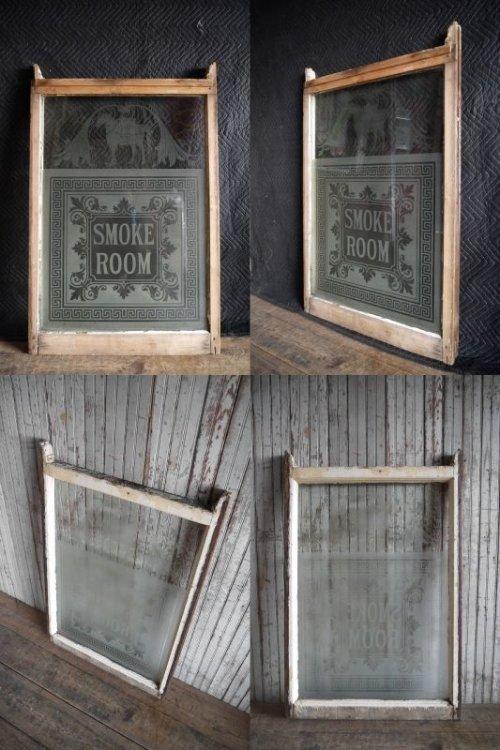 他の写真1: アンティーク 1800年代後期 SMOKE ROOM ミルクペイント ガラス×ウッド 窓枠 *