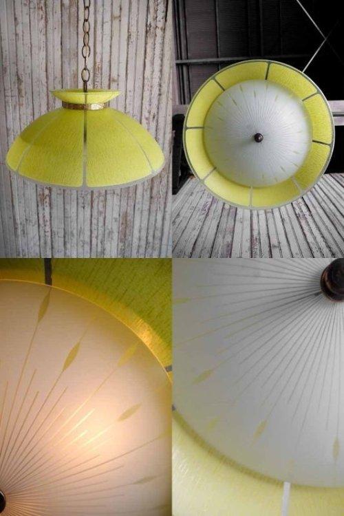 他の写真2: アンティーク イエローガラス×カスリガラスシェード 3灯吊り下げランプ