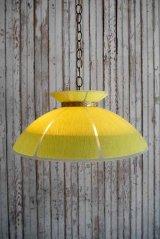 アンティーク イエローガラス×カスリガラスシェード 3灯吊り下げランプ