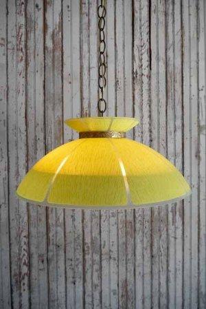 画像1: アンティーク イエローガラス×カスリガラスシェード 3灯吊り下げランプ