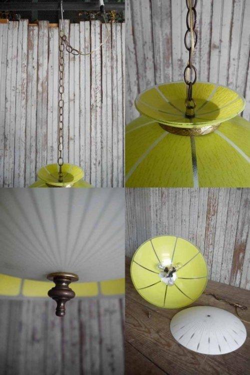 他の写真3: アンティーク イエローガラス×カスリガラスシェード 3灯吊り下げランプ