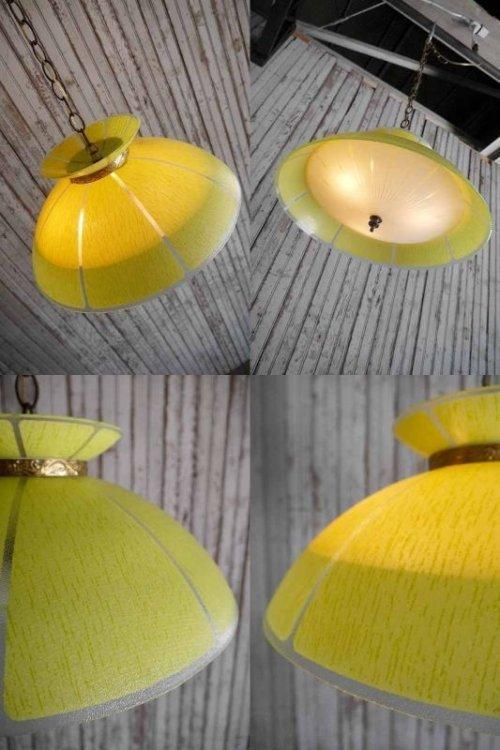 他の写真1: アンティーク イエローガラス×カスリガラスシェード 3灯吊り下げランプ