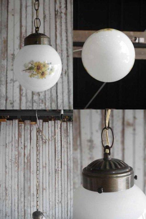 他の写真3: アンティーク フラワー装飾 ミルクガラス吊り下げランプ
