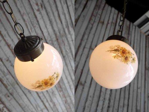 他の写真1: アンティーク フラワー装飾 ミルクガラス吊り下げランプ