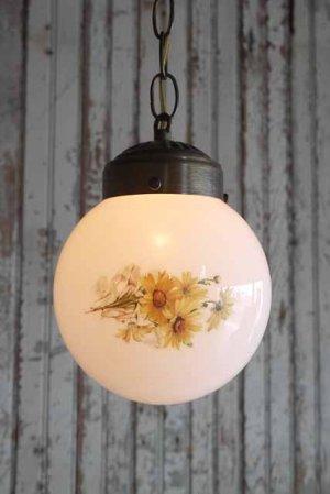 画像1: アンティーク フラワー装飾 ミルクガラス吊り下げランプ