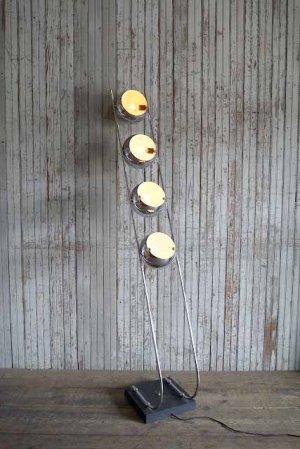 画像1: アンティーク スペースエイジデザイン メタル4灯フロアランプ