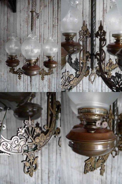 他の写真2: アンティーク メタル×カスリガラスシェード 4灯吊り下げランプ
