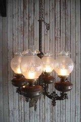 アンティーク メタル×カスリガラスシェード 4灯吊り下げランプ