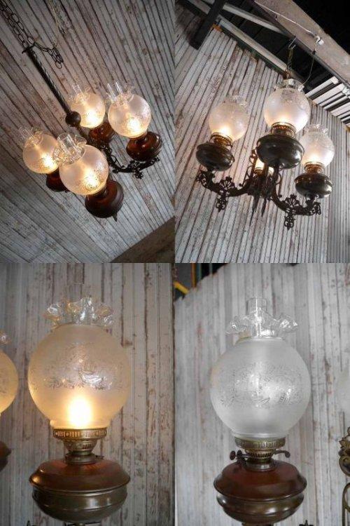 他の写真1: アンティーク メタル×カスリガラスシェード 4灯吊り下げランプ