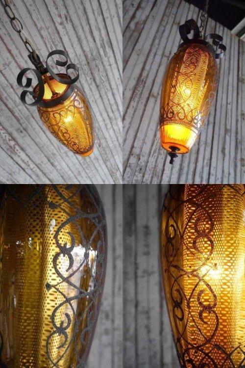 他の写真1: アンティーク 装飾アンバーガラス 吊り下げランプ 206