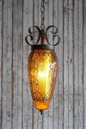 画像1: アンティーク 装飾アンバーガラス 吊り下げランプ 206