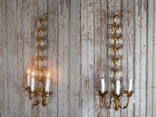 他の写真1: アンティーク ITALY製 リーフ×ガラス装飾 3灯ウォールランプ 359