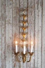 アンティーク ITALY製 リーフ×ガラス装飾 3灯ウォールランプ 359