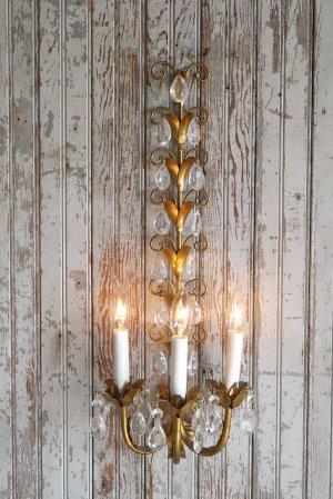 画像1: アンティーク ITALY製 リーフ×ガラス装飾 3灯ウォールランプ 359