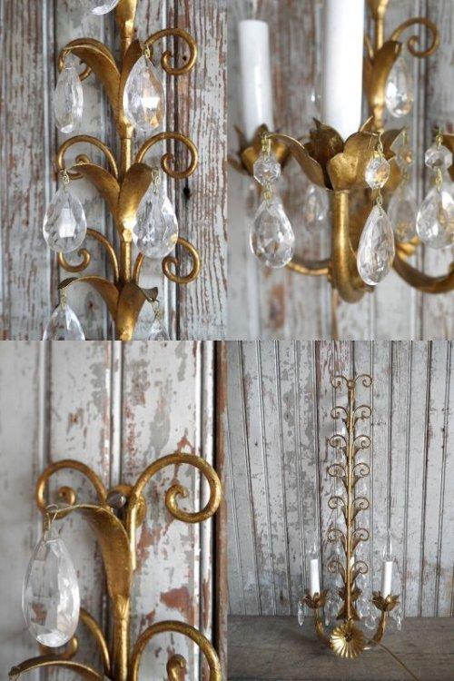 他の写真3: アンティーク ITALY製 リーフ×ガラス装飾 3灯ウォールランプ 359