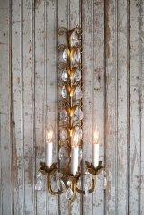 アンティーク ITALY製 リーフ×ガラス装飾 3灯ウォールランプ 360
