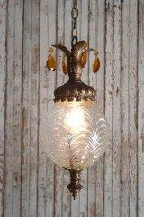 アンティーク シャンデリア装飾 クリアガラス吊り下げランプ