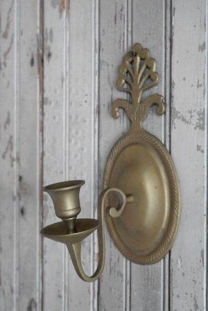 画像1: アンティーク 壁掛け式 ブラスキャンドルホルダー