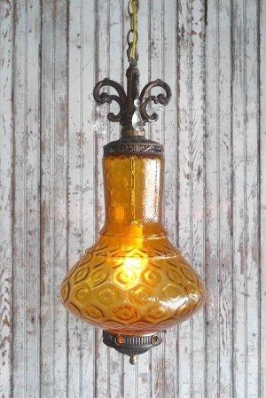画像1: アンティーク アンバーガラス 吊り下げランプ