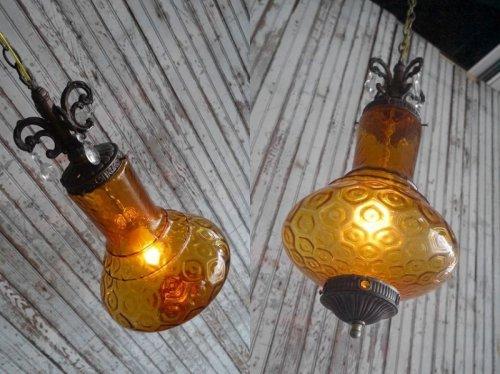 他の写真1: アンティーク アンバーガラス 吊り下げランプ
