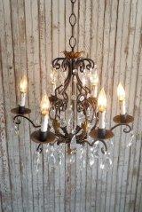 アンティーク メタル×ガラス装飾 6灯シャンデリア