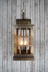 アンティーク メタルシェード 2灯吊り下げランプ